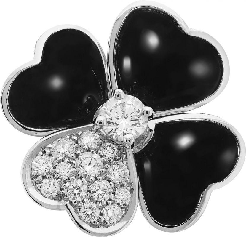 VCARO5BU00_Cosmos medium model clip pendant, white gold, onyx, diamonds, diamond center_512761