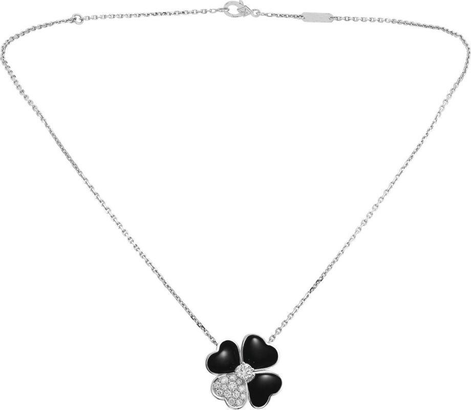 VCARO5BU00_Cosmos medium model clip pendant, white gold, onyx, diamonds, diamond center_594228