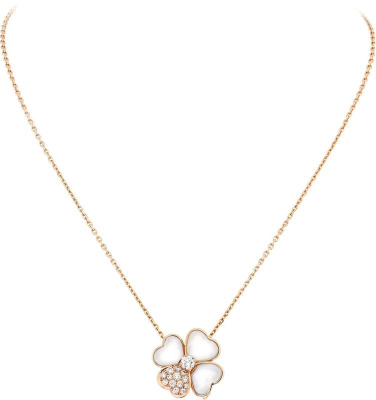 VCARO5BV00_Cosmos medium model clip pendant, pink gold, white mother of pearl, diamonds, diamond center_595573