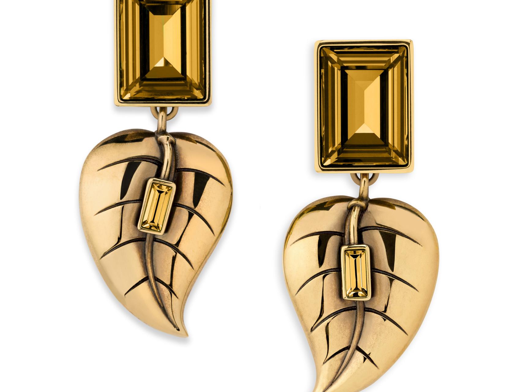 Atelier Swarovski by Sandy Powell Leaf Earrings - Gold