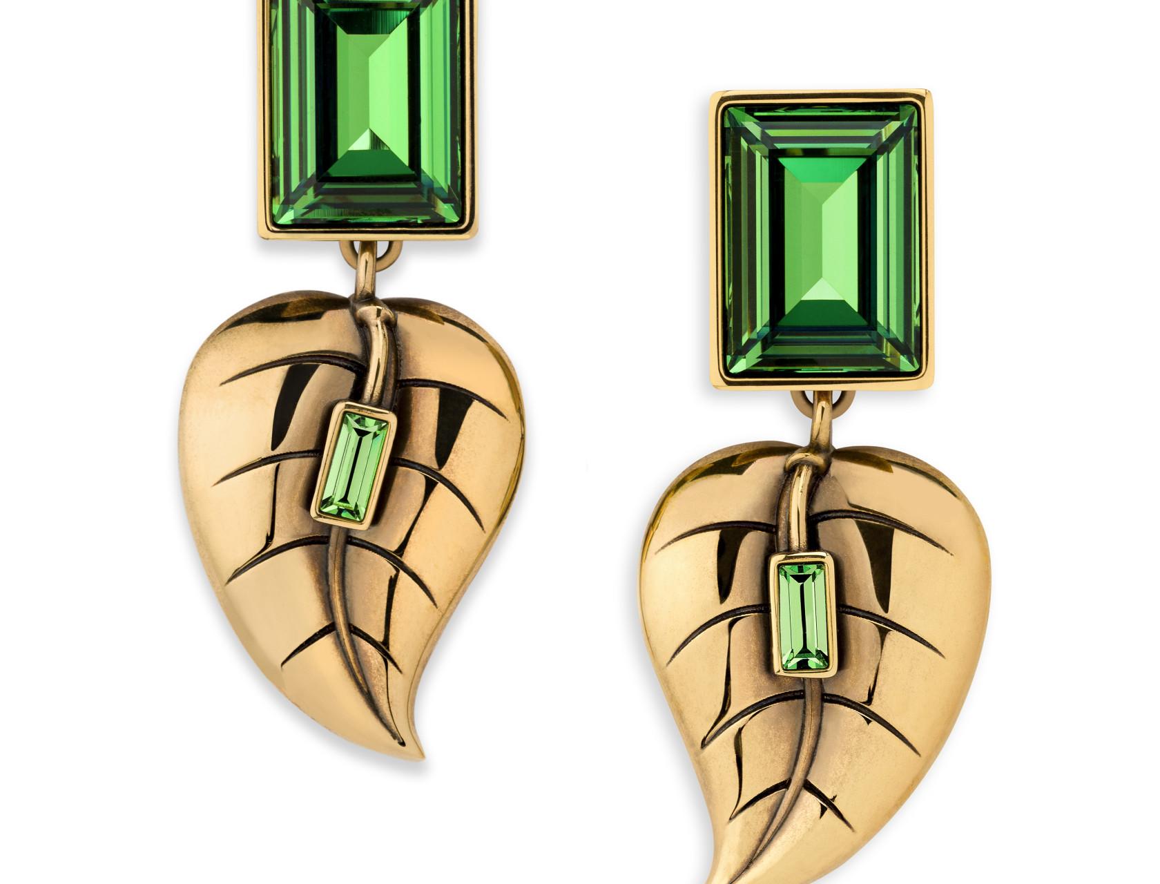 Atelier Swarovski by Sandy Powell Leaf Earrings - Green