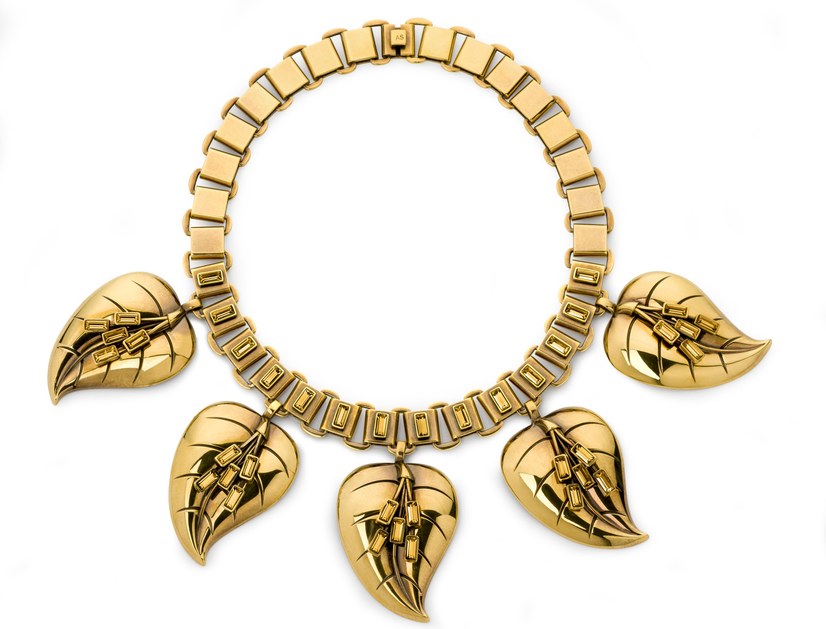 Atelier Swarovski by Sandy Powell Leaf Necklace - Gold